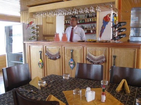 Amazon River: JC at the bar on Queen Violeta