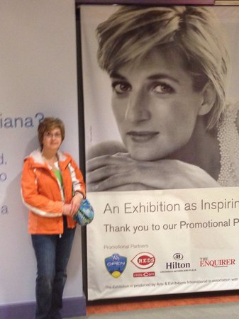 Cincinnati Museum Center at Union Terminal: Anne at Princess Di exhibit in Cincy on our anniversary.