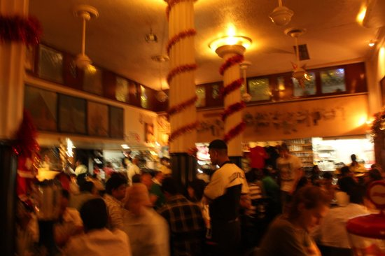 Leopold Cafe and Bar : The interiors in the evening.