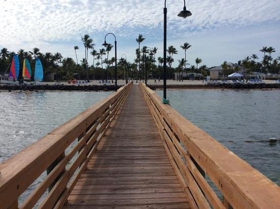 Islander Resort, a Guy Harvey Outpost: from the pier back toward our unit, bar and pool to the right