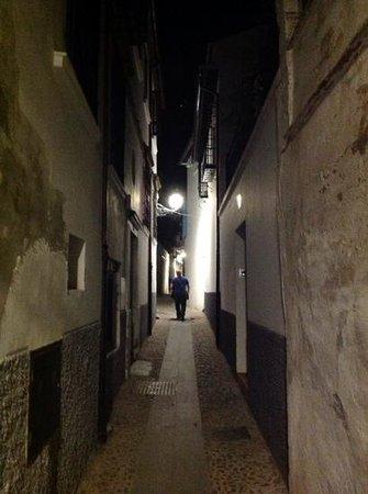 Posada de Quijada: The Calle de Quijada at night
