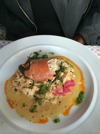 La Tia Rica: Fish/lobster claw on beet mashed potatoes