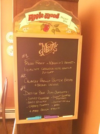 Applewood Manor Inn Bed & Breakfast: Breakfast Menu
