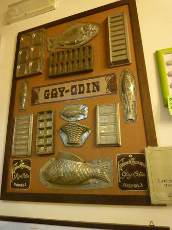 Gay Odin : Some of the chocolate moulds displayed on the wall