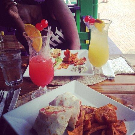 Bateman's Big Easy: Grouper Wrap w/ sweet potato w/ bahama mama  Fish Burger w/ sweet potato w/ pineapple juice