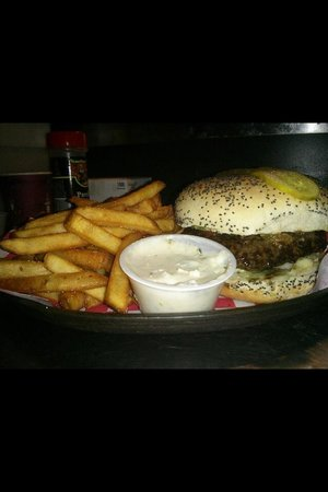 Relish Gourmet Burgers: La lady with fries and goats cheese dip!!!