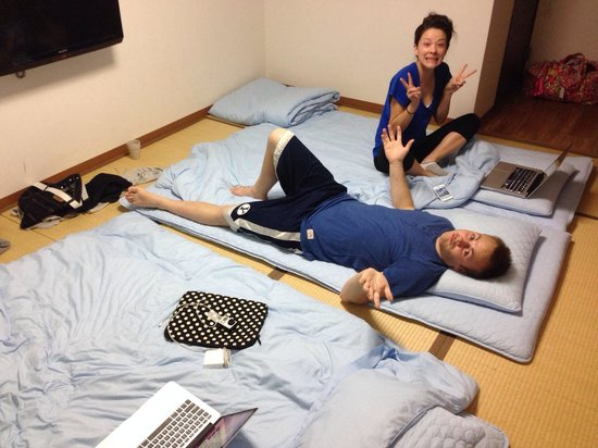 Traditional Japanese futons and plenty of space for 3 people