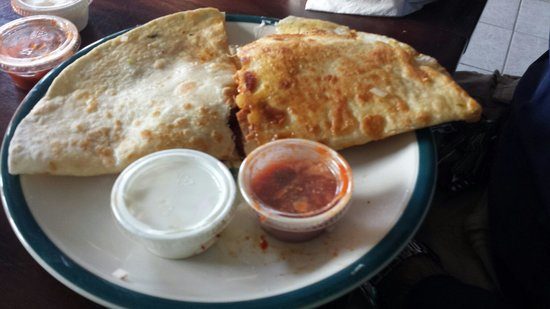 Latino's Taste: Half of a chicken and half of a pork Quesadilla! Awesome!