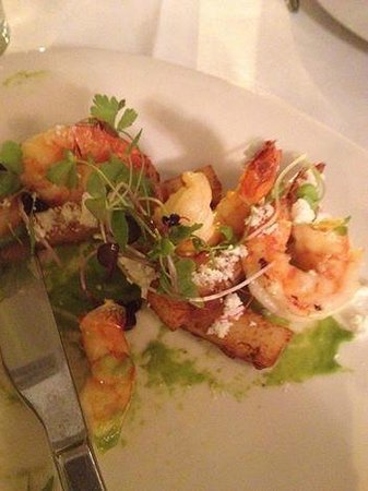Tides Waterfront Dining: Beautiful Mooloolaba Prawns with polenta chips and a spiced sand. (YUM!)