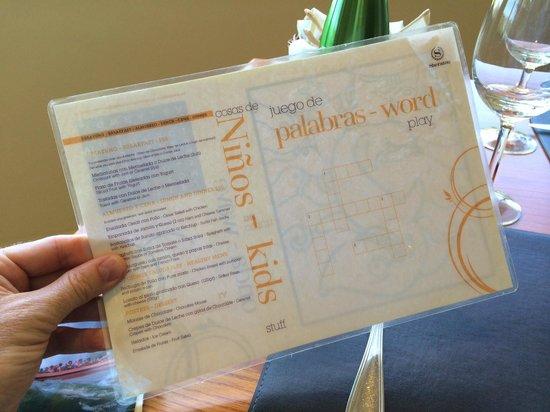 Meliá Iguazu Resort & Spa: The laminated kids' menu!