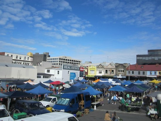 Farm Gate Market: from the church lookout point -above the Street