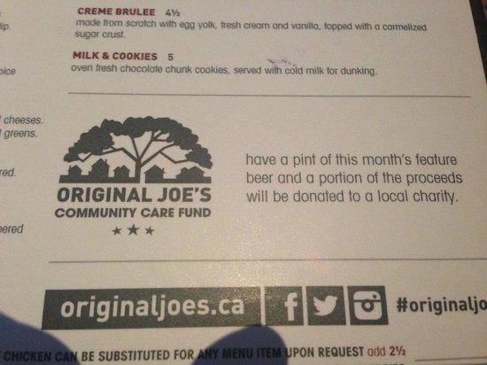Menu Sampling from Original Joe's  |  3681 Portage Avenue, Winnipeg, Manitoba R3K 2G6 , Canada