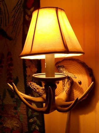 Common Man Inn & Spa: There were several of these antler wall lamps in the room.