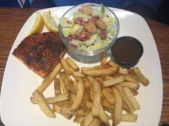 Blackened salmon Entray, with ceasar sald and fries, Original Joe's  |  3681 Portage Avenue, Win