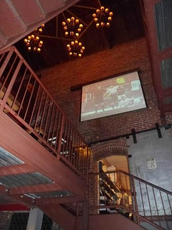 Foster's Boiler Room: Looking up from boiler room at TV on 2nd floor & chandeliers above.