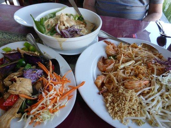 Thai Talay Restaurant: Spinach noodle chicken curry, Chicken Pahd Macua, Shrimp Pahd Thai