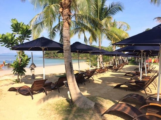 Beyond Resort Krabi: Beach with long expanse of chairs/shades.