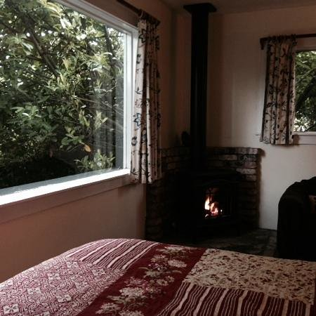 Berry Patch Cottage and Hideaway: bedroom with a fire!