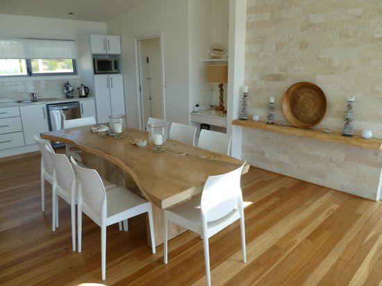 Snellings View: The dining table with kitchen in the background