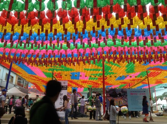 Jogyesa Temple: Lantern display with names of people written on them