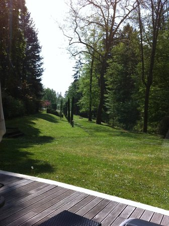 Pavillon de la Rotonde: Vue du parc depuis les junior suite, la piscine et la salle du petit déjeunere