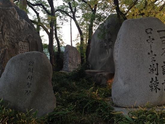 Parque Namsan: Stones at base near the start of the stairs of the car