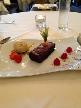Marco at Milano: chocolate torte with coffee ice cream and pistacio