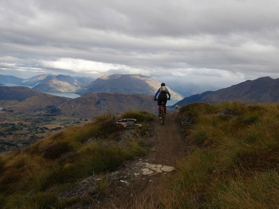 Views from up high at Rude rock mountain bike trail, Coronet Peak
