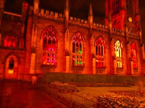 Bombed Out Church: St Lukes Church lit up ar Christmas