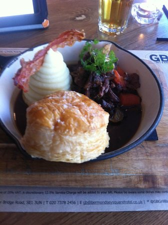 GB Grill & Bar: Deconstructed Oxtail Pudding with Mash, Puff Pastry and Bacon