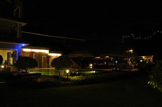 The Crown Goa: pool at night