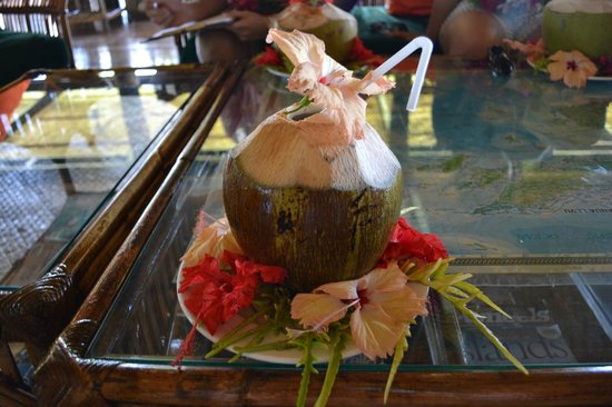 Nukubati Private Island: Fresh coconut water upon arrival