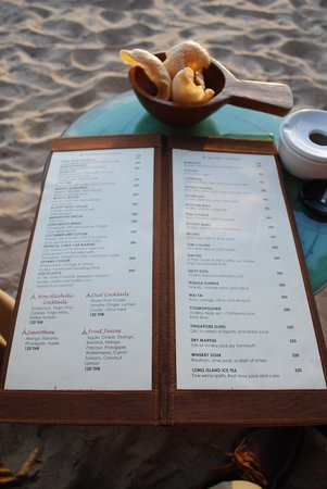Layana Resort and Spa : Sunset bar menu