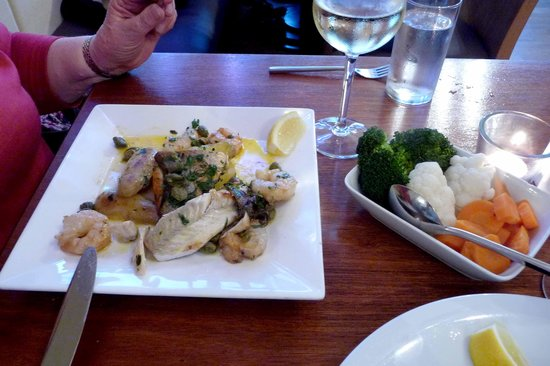 Bistro Forty Six: Sea Bass & Prawn main course