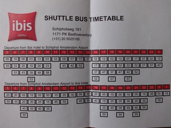 Hotel Ibis Schiphol Amsterdam Airport : расписание шаттла из аэропорта до отеля