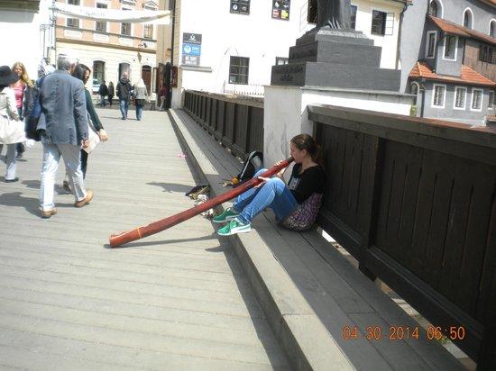 Historic Center of Cesky Krumlov : Street performer