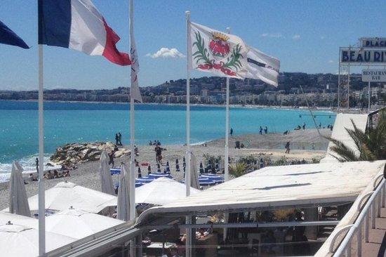 Plage Beau Rivage : Blick auf Nizza