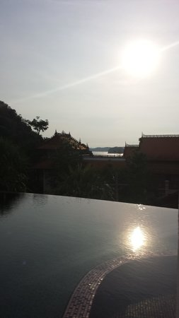 AliSea Boutique Hotel: The sun going down over pool terrace, gorgeous