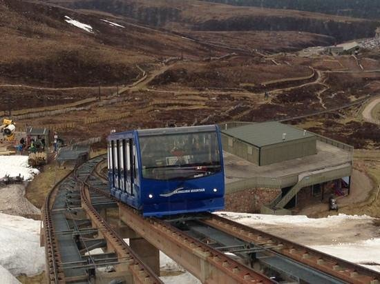 CairnGorm Mountain: Cairngorm Funicular on its way to the snow covered Mountain.