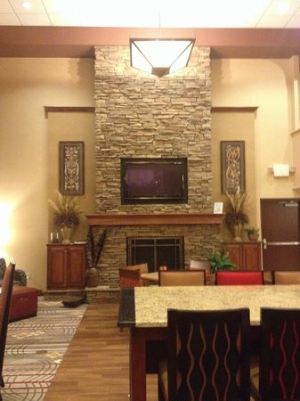 Hampton Inn & Suites Youngstown - Canfield : Stone fireplace in lobby