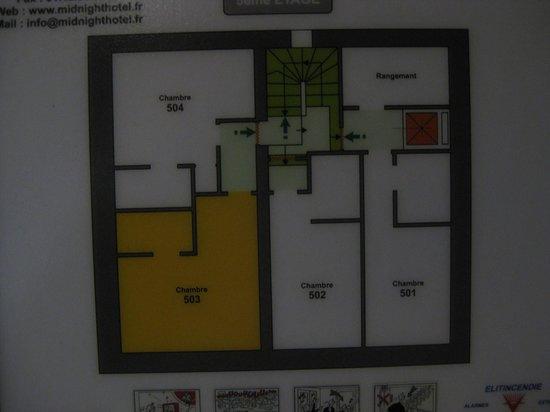 Midnight Hotel Paris : Plattegrond 5e etage