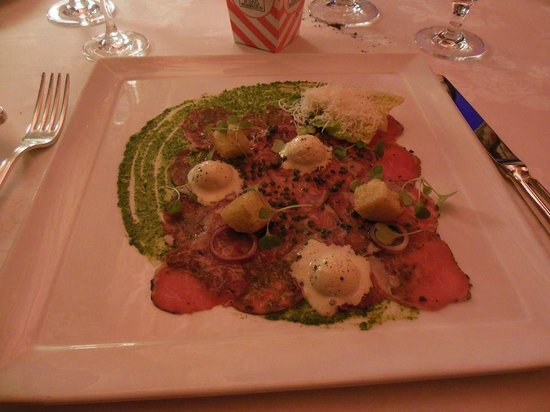 The Inn at Little Washington: Carpaccio of Herb-Crusted Baby Lamb Loin with Caesar Salad Ice Cream