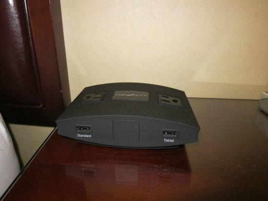 The Westin Chicago River North: Bedside power adapter. Finally! No more hunting!