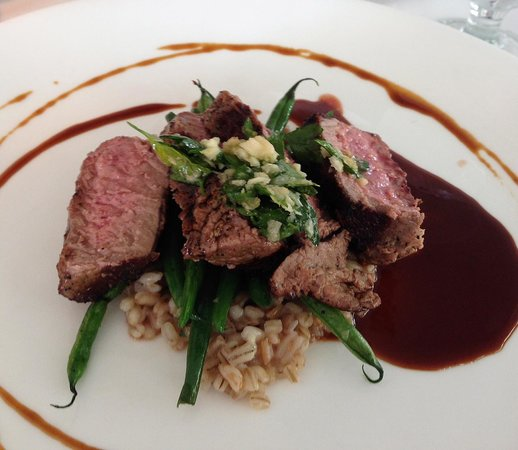 Peter Shields Inn & Restaurant: Lamb Loin with Gremolata and Mint Barley Risotto