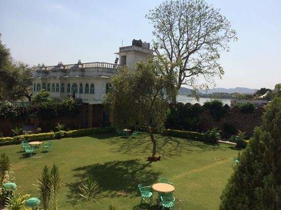 Amer Haveli -A heritage hotel. : garden complete with chickens