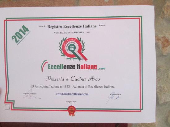 Pizzeria e Cucina Arco: Registro Eccellenza Italiane