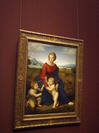 raphael s madonna meadows The madonna del prato (madonna of the meadow), formally madonna with the christ child and saint john the baptist, is a 1506 painting by raphael.