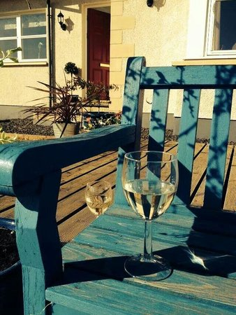 Borthwick View: Lovely wee sit at the front of the house to take a seat and sip a wine.