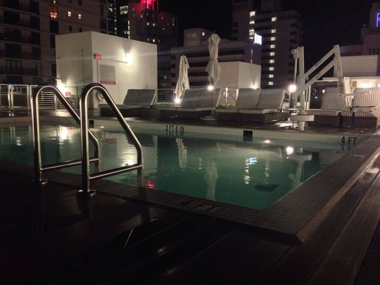 The Redbury South Beach: The pool at night, but lacking the planting !