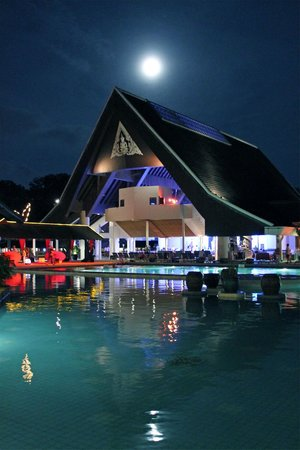 Full moon over entertainment hall at Club med Phuket